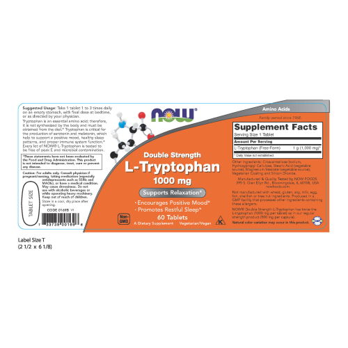 NOW FOODS -L-Tryptophan, Double Strength 1000 mg - 60 Tablets