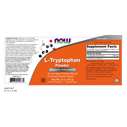 NOW FOODS -L-Tryptophan Powder - 2 oz.