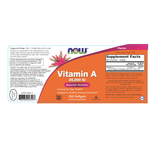 NOW FOODS -Vitamin A (Fish Liver Oil) - 250 Softgels