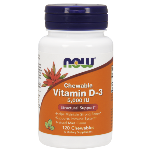 NOW FOODS -Vitamin D-3 5000 IU - 120 Chewables
