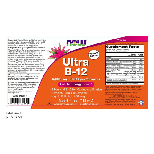 NOW FOODS -Ultra B-12 Liquid - 4 oz.