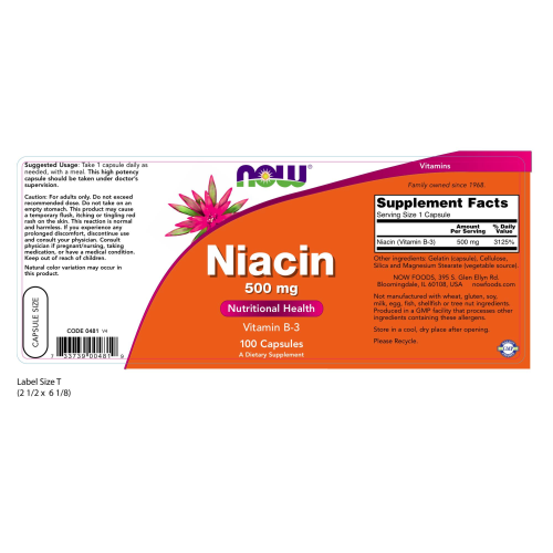 NOW FOODS -Niacin 500 mg - 100 Capsules