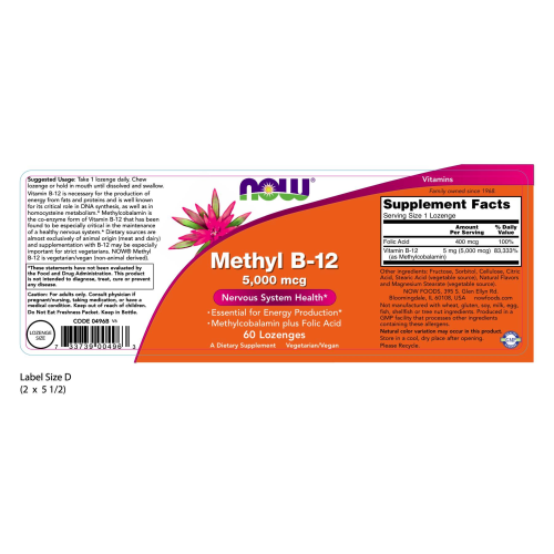 NOW FOODS -Methyl B-12 5,000 mcg - 60 Lozenges