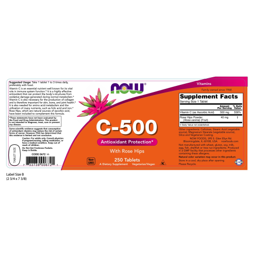 NOW FOODS -Vitamin C-500 - 250 Tablets