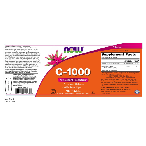 NOW FOODS -Vitamin C-1000 Sustained Release - 100 Tablets