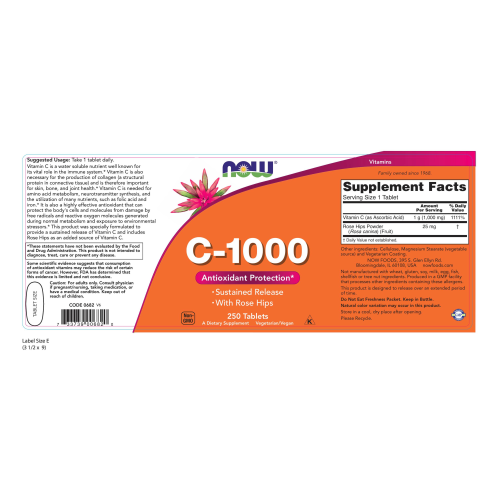 NOW FOODS -Vitamin C-1000 Sustained Release - 250 Tablets