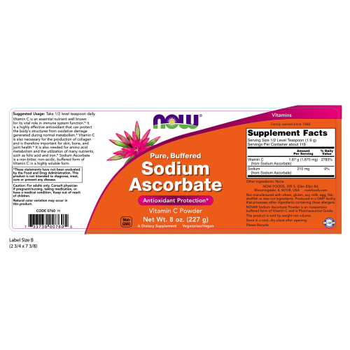 NOW FOODS -Sodium Ascorbate Powder - 8 oz.