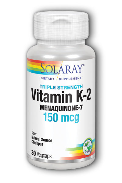 Solaray- Triple Strength K-2, MK-7, Veg, 30 ct