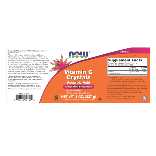 NOW FOODS -Vitamin C Crystals - 8 oz. Powder