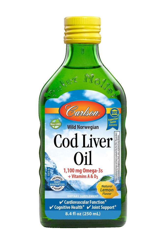 Carlson-Norwegian Cod Liver Oil, Lemon, 250 mL