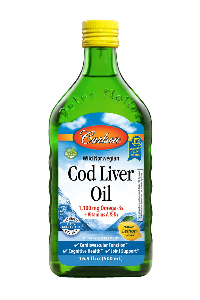 Carlson-Norwegian Cod Liver Oil, Lemon, 500 mL