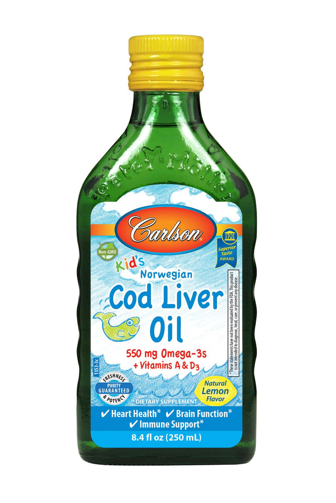 Carlson-Norwegian Kid's Cod Liver Oil, Lemon, 250 mL