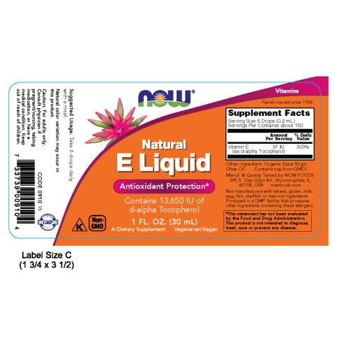 NOW FOODS -Vitamin E Natural Liquid -1 fl. oz.