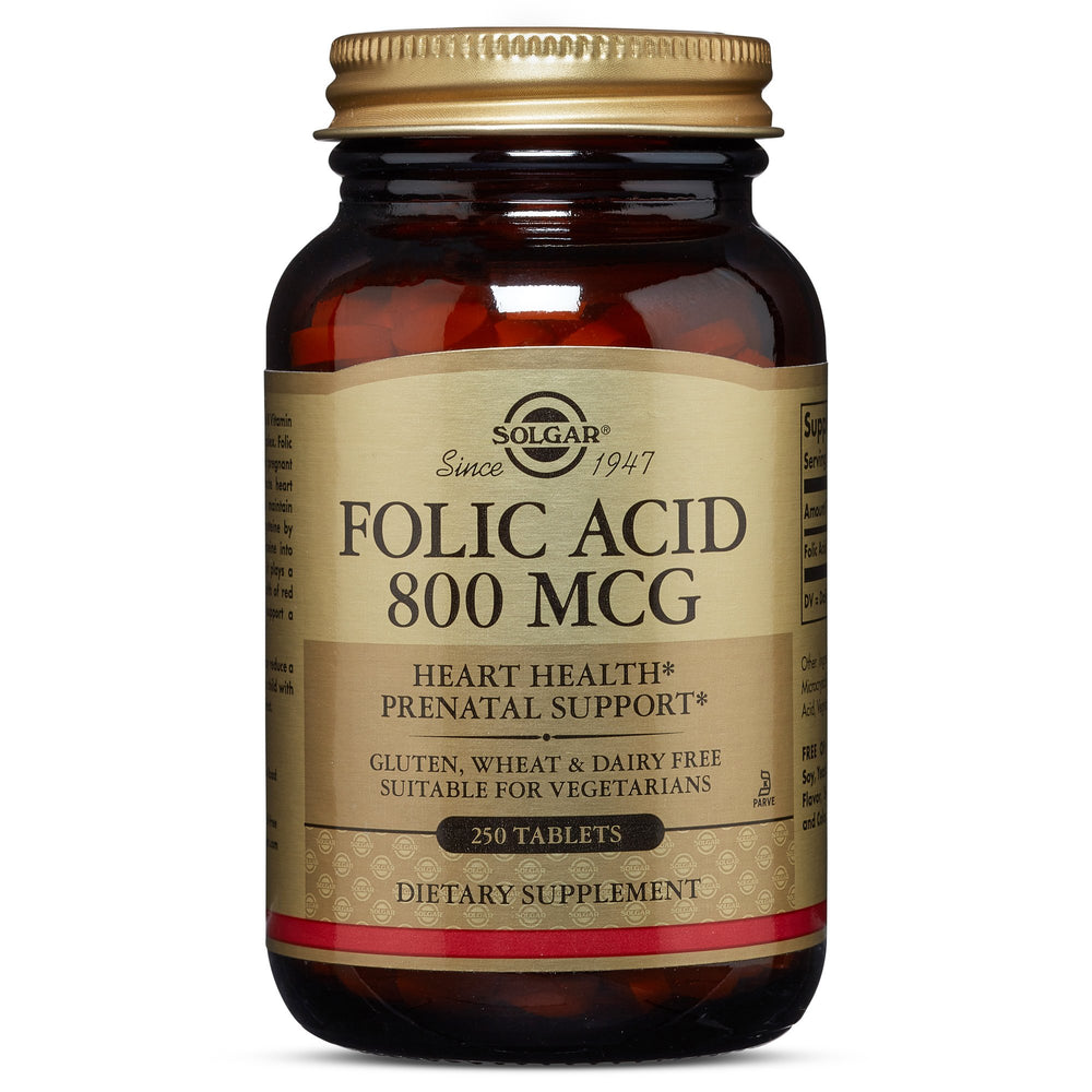 Solgar- Folic Acid 800 mcg Tablets- 250