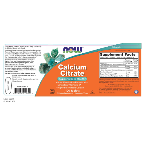 NOW FOODS -Calcium Citrate - 100 Tablets