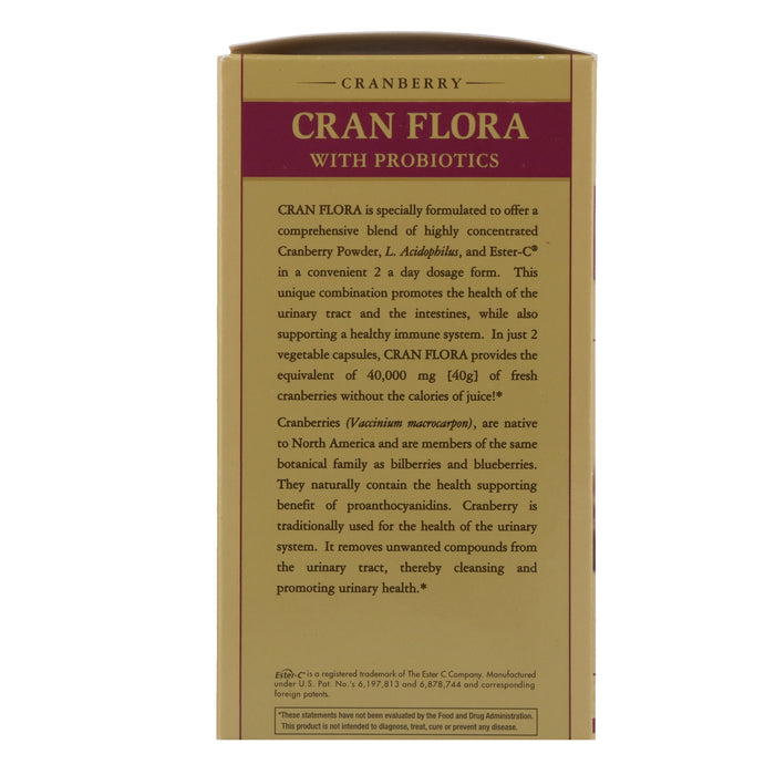 Solgar- CRAN FLORA with Probiotics Plus Ester-C® Vegetable Capsules- 60