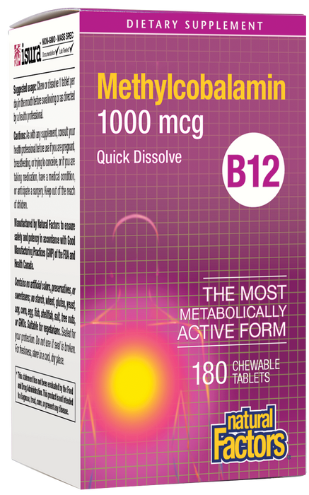 Natural Factors-B12 Methylcobalamin 1,000 mcg Chewable 180 TAB