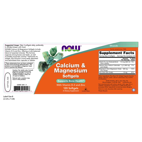 NOW FOODS -Calcium & Magnesium - 120 Softgels