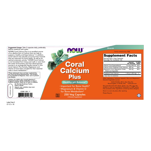NOW FOODS -Coral Calcium Plus - 250 Veg Capsules