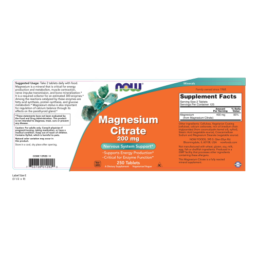 NOW FOODS -Magnesium Citrate 200 mg - 250 Tablets