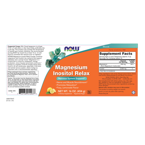 NOW FOODS -Magnesium Inositol Relax Powder - 16 oz.