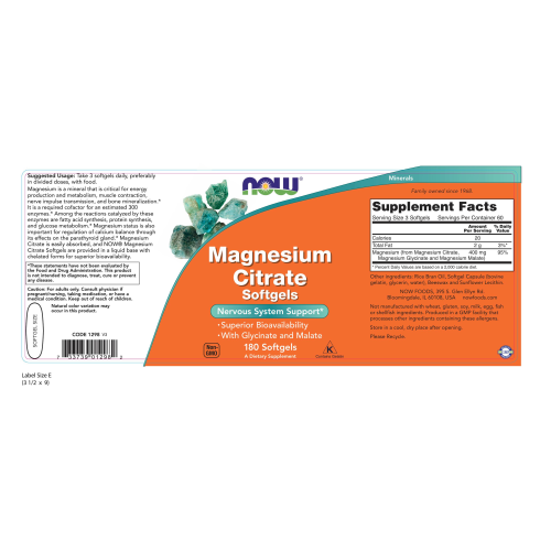 NOW FOODS -Magnesium Citrate - 180 Softgels