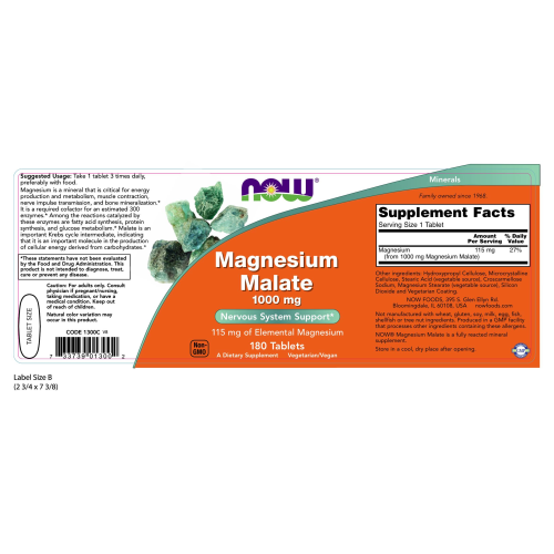 NOW FOODS -Magnesium Malate 1000 mg - 180 Tablets