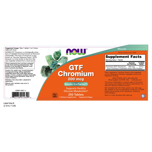 NOW FOODS -GTF Chromium 200 mcg Yeast Free - 250 Tablets