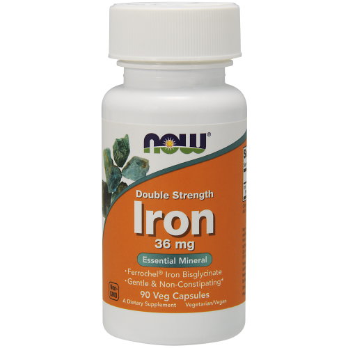 NOW FOODS -Iron 36 mg Double Strength - 90 Veg Capsules