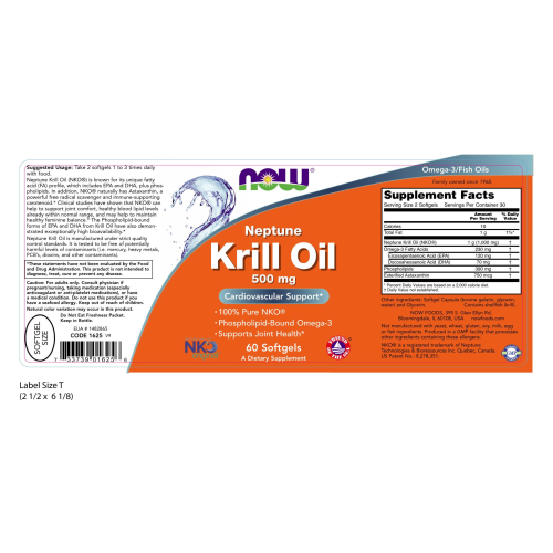NOW FOODS -Neptune Krill Oil 500 mg - 60 Softgels