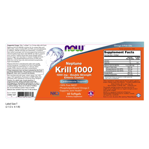 NOW FOODS -Neptune Krill, Double Strength 1000 mg - 60 Softgels
