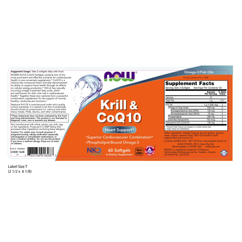 NOW FOODS -Krill & CoQ10 - 60 Softgels