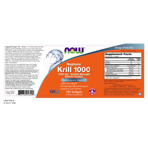 NOW FOODS -Neptune Krill, Double Strength 1000 mg - 120 Softgels