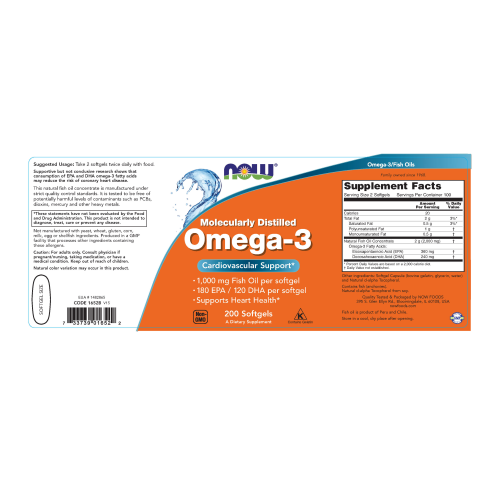 NOW FOODS -Omega-3, Molecularly Distilled - 200 Softgels
