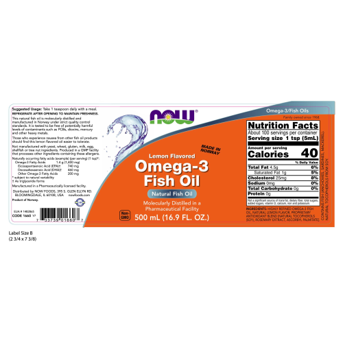 NOW FOODS -Omega-3 Fish Oil - 16.9 fl. oz.