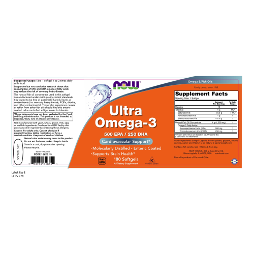 NOW FOODS -Ultra Omega-3 - 180 Softgels