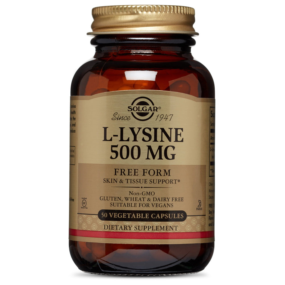 Solgar- L-Lysine 500 mg Vegetable Capsules- 50