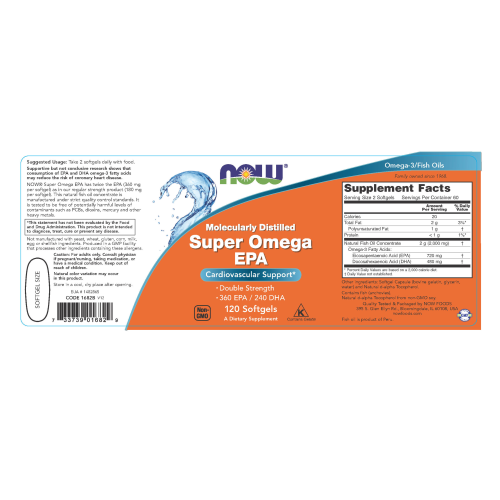 NOW FOODS -Super Omega EPA, Double Strength - 120 Softgels