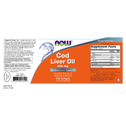 NOW FOODS -Cod Liver Oil 650 mg - 250 Softgels