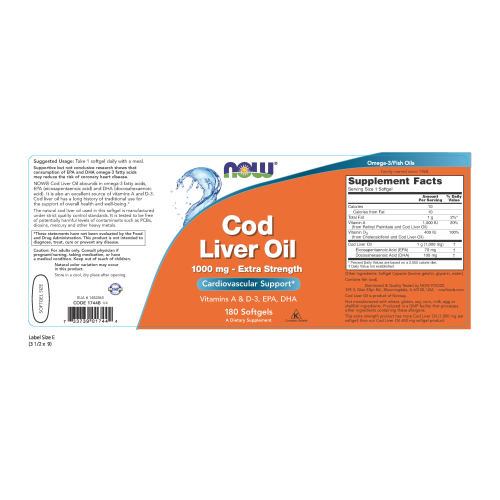 NOW FOODS -Cod Liver Oil, Extra Strength 1,000 mg - 180 Softgels