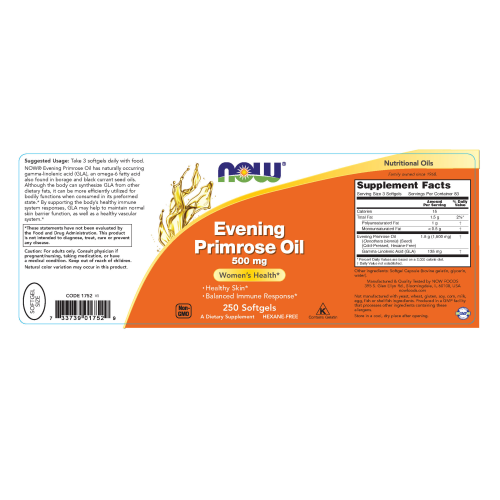 NOW FOODS -Evening Primrose Oil 500 mg - 250 Softgels