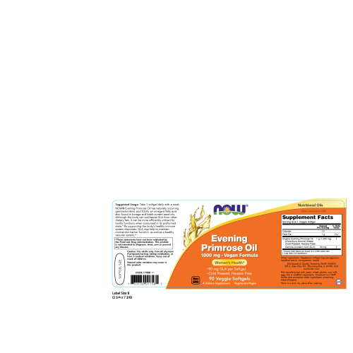 NOW FOODS -Evening Primrose Oil 1000 mg Vegan Formula - 90 Veggie Softgels