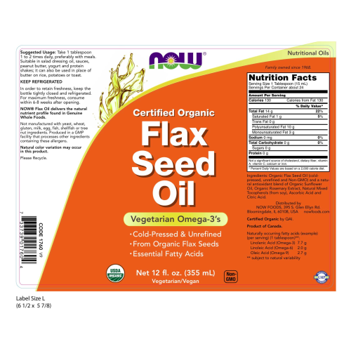 NOW FOODS -Flax Seed Oil, Certified Organic - 12 fl. oz.