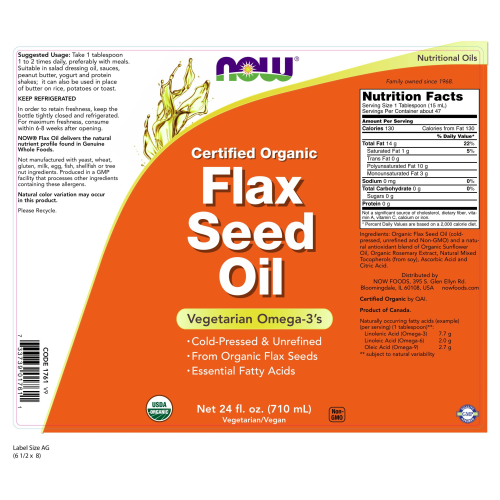 NOW FOODS -Flax Seed Oil, Certified Organic - 24 fl. oz.