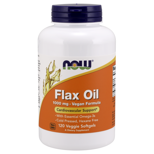 NOW FOODS -Flax Oil 1000 mg Vegan Formula - 120 Veggie Softgels