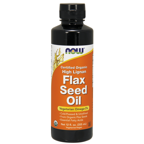 NOW FOODS -High Lignan Flax Seed Oil Liquid - 12 oz. - Organic, Non-GE