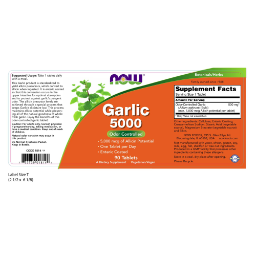 NOW FOODS -Garlic 5000 - 90 Tablets