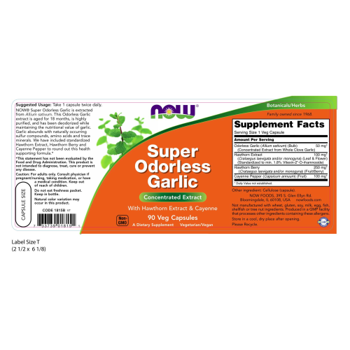 NOW FOODS -Super Odorless Garlic - 90 Veg Capsules