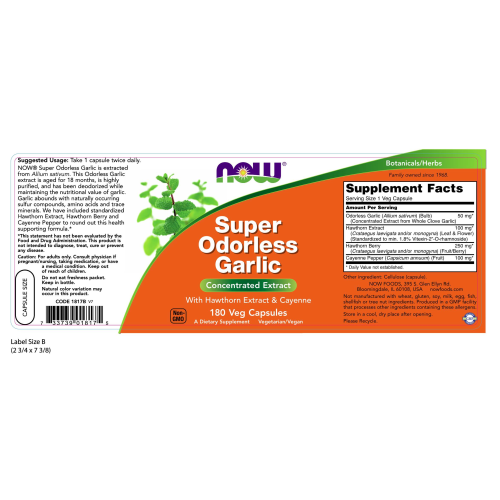 NOW FOODS -Super Odorless Garlic - 180 Veg Capsules