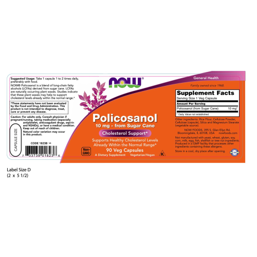 NOW FOODS -Policosanol 10 mg - 90 Veg Capsules